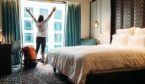 lady in hotel room