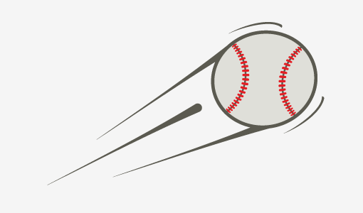 A picture of a moving baseball