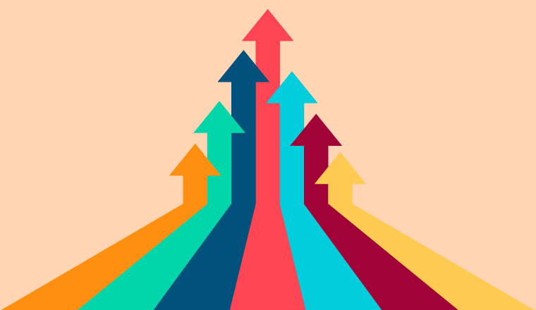 A picture of multi-colour arrows pointing upwards