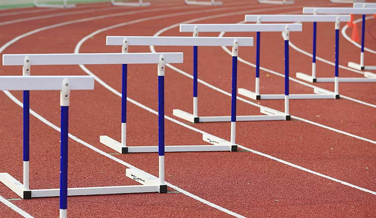 A photo of hurdles on a race track