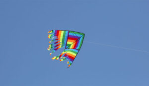 A photo of a kite flying on a clear day