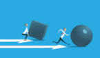 A picture of someone pushing sphere further than a person pushing a cube