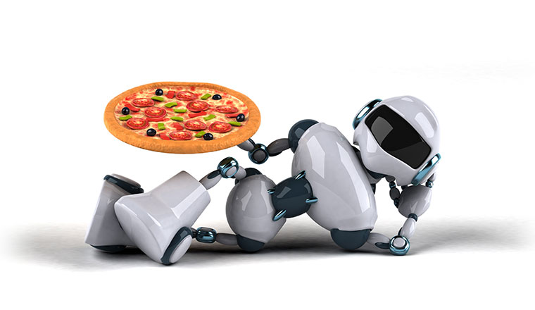 A picture of a relaxing robot holding a pizza