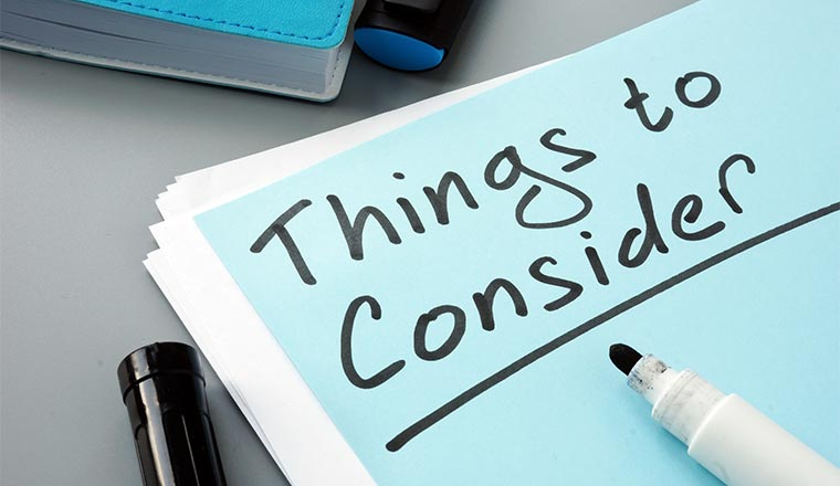 "A photo of a piece of paper with the words ""things to consider"""