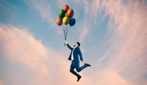 A picture of a person hold balloons and flying