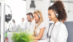 A line of agents in a call centre