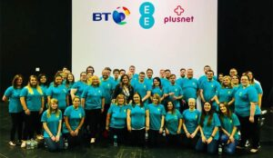 A photo of the ee contact centre team as part of a choir