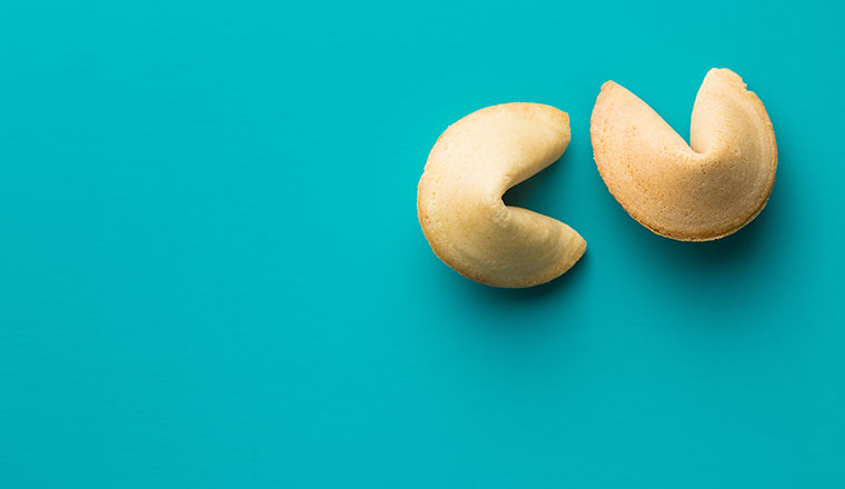 The fortune cookies on blue background.