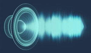 A illustrated speaker with a sound wave