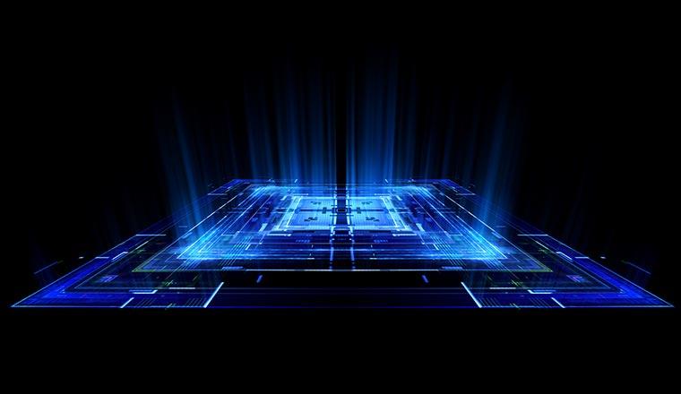 A large blue 'digital' square