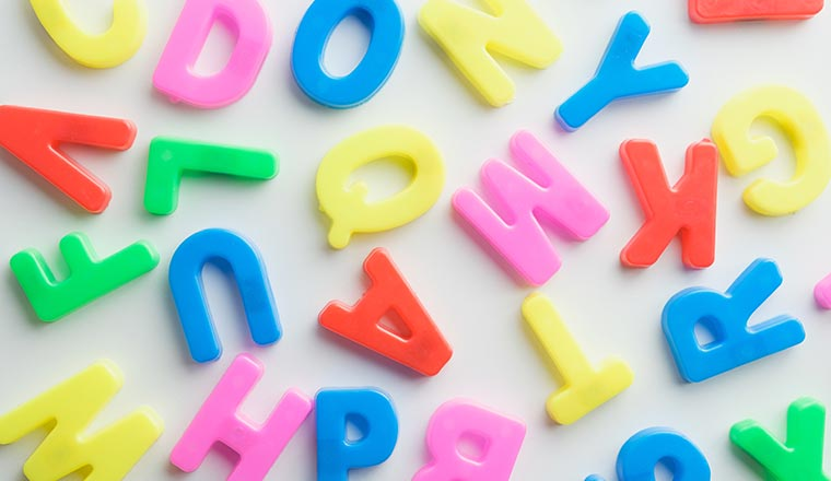 A photo of colourful alphabet letters