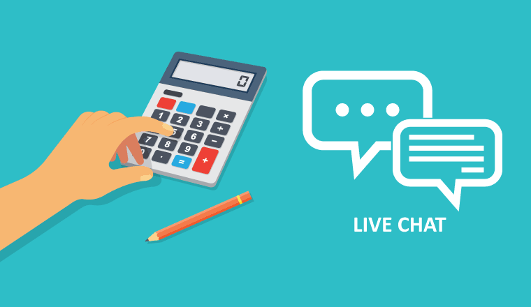 A picture of a calculator with a live chat symbol