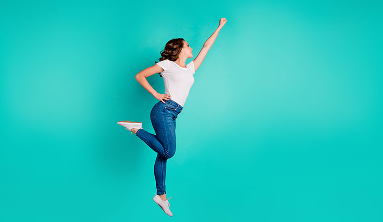 A photo of a motivated jump pose
