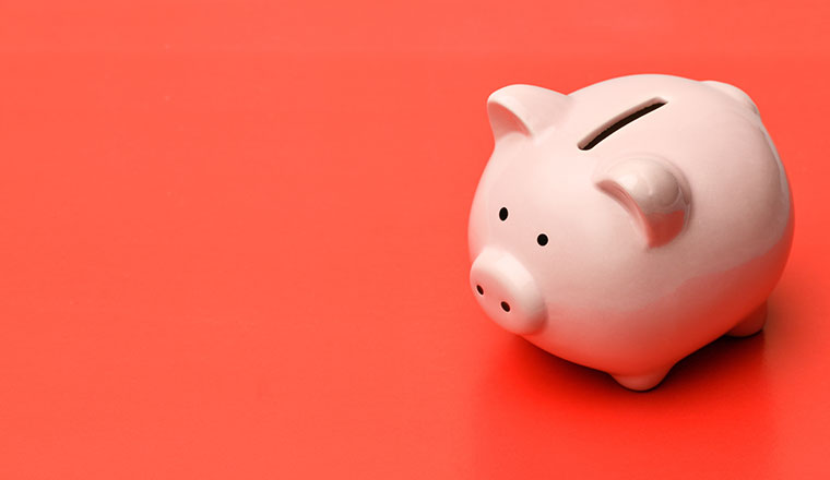 pink piggy bank on a red background