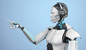 A robot points a finger