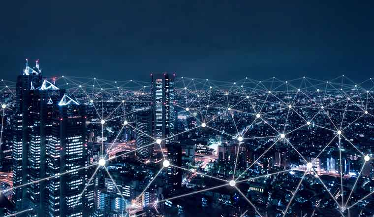 A photo of digital connections across a city