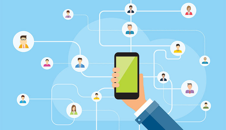 A mobile phone connects to a group of head icons