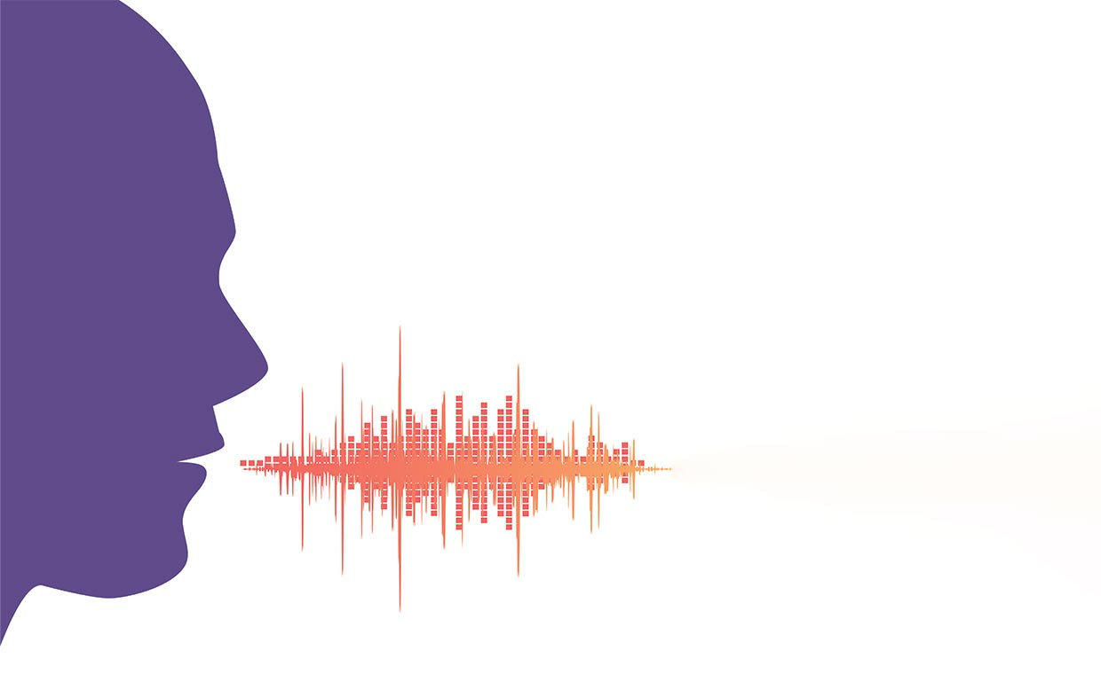 An outline of a head and a speech waveform