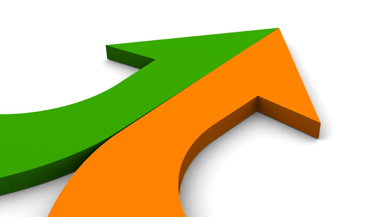 A picture of a green half arrow, joining an orange half arrow
