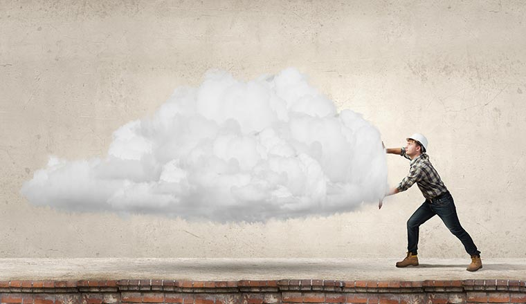 A picture of a builder moving a cloud