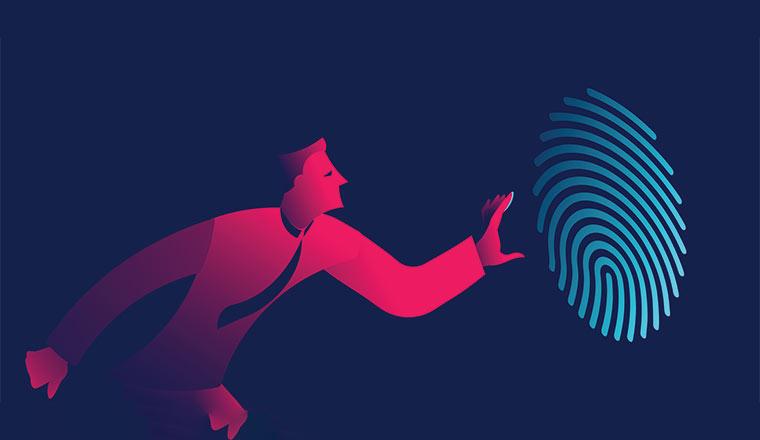 A cartoon man reaches towards a large finger print