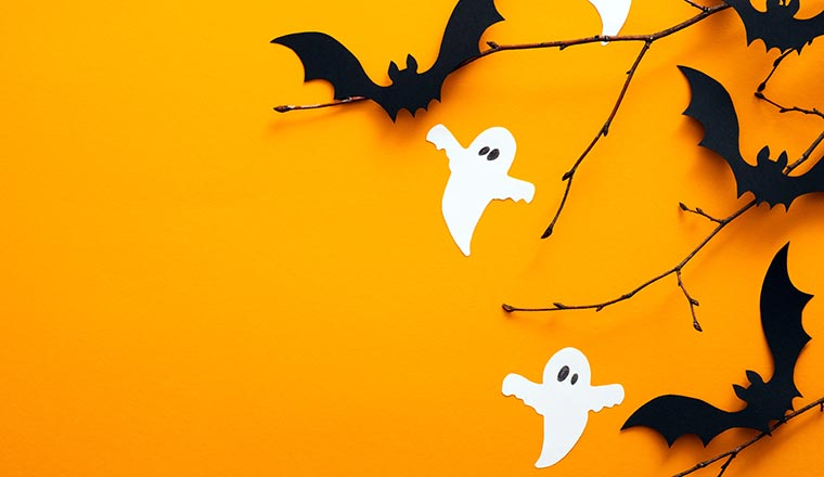 A photo of ghosts and bats, and sticks on an orange background
