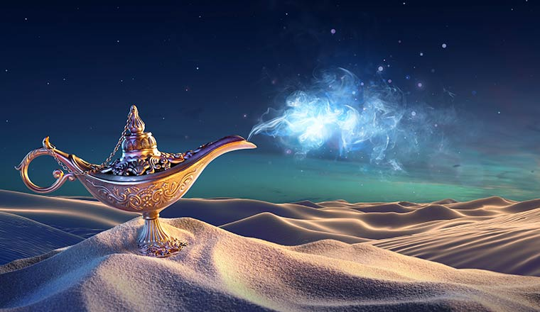 A photo of a golden, magical lamp
