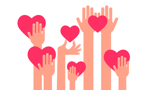 A picture of arms holding hearts