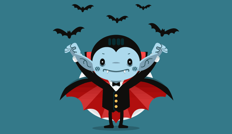 A picture of a cartoon vampire with bats flying above him