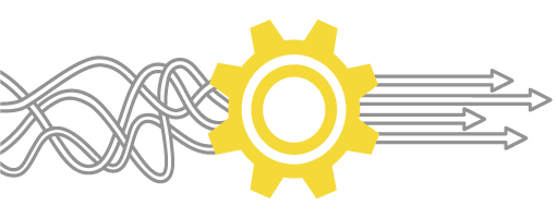 A picture of wiggly lines hitting a cog and forming arrows