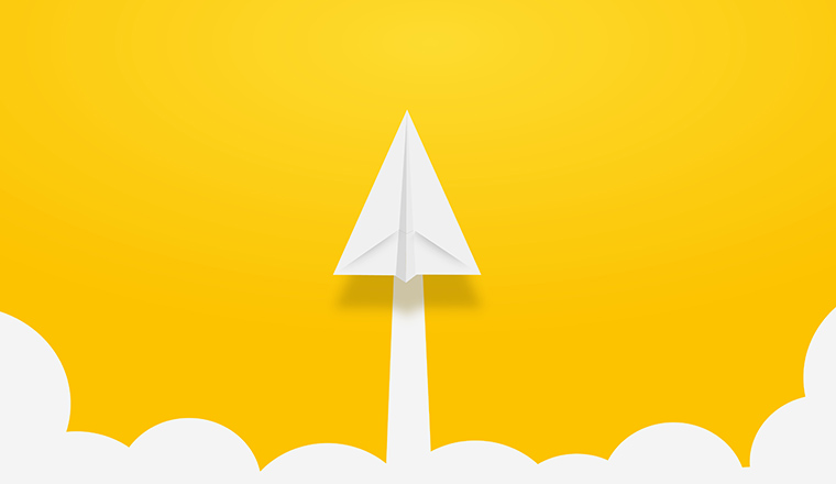 A paper plane points towards the top of the image with a yellow background