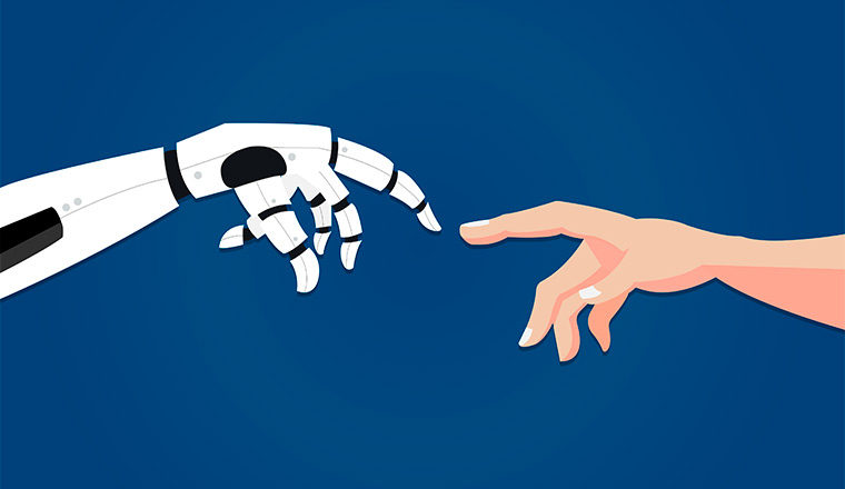 A picture of a robot hand and a human hand