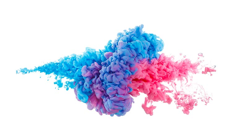 A picture of coloured smoke merging into each other