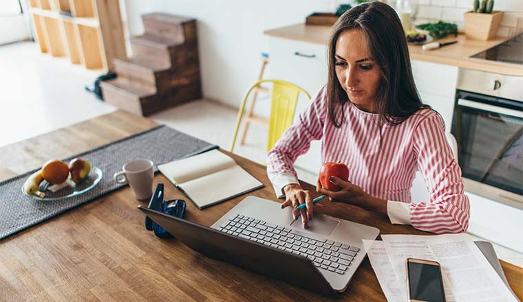A photo of somebody working from home
