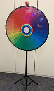 A photo of a spinning wheel