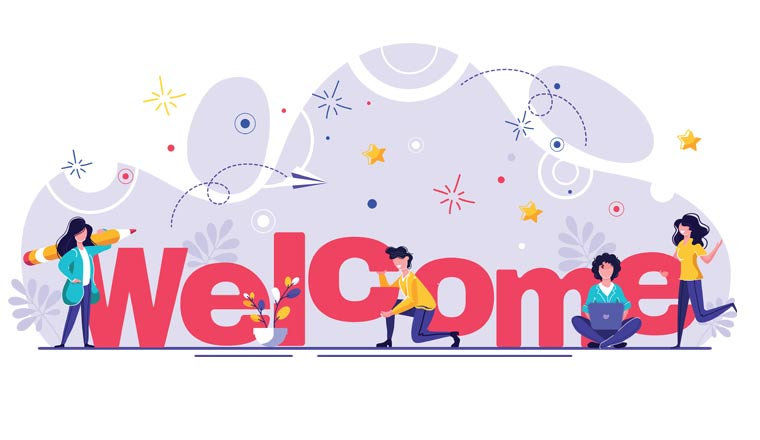 A picture of the word welcome