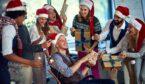 A photo of an office team having fun a Christmas