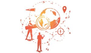 A sketch of some people standing under a globe with a magnifying glass