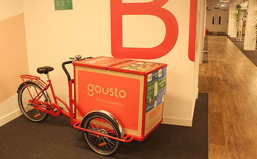 A photo of a charity bicycle at the Gousto contact centre
