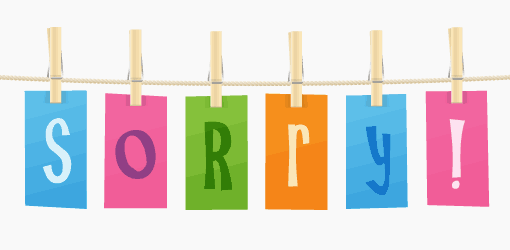 "A picture of the word ""sorry"" on a washing line"