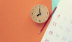 A picture of a clock, a pencil and calendar