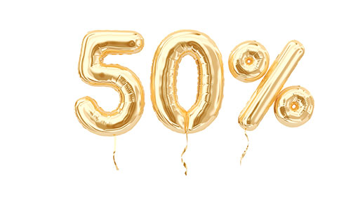 "A photo of balloons shaped like ""50%"""