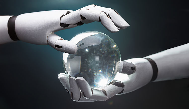 A picture of robot hands holding a crystal ball