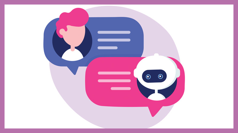 A picture of a robot and a person communicating with speech bubbles