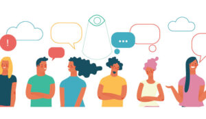 A group of people with speech bubbles over their heads