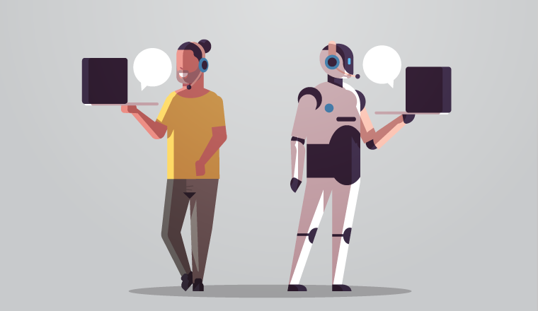 A man holding a laptop stands next to a robot holding a laptop