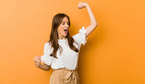 A photo of someone flexing in a power pose