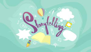 A picture of a storytelling cartoon