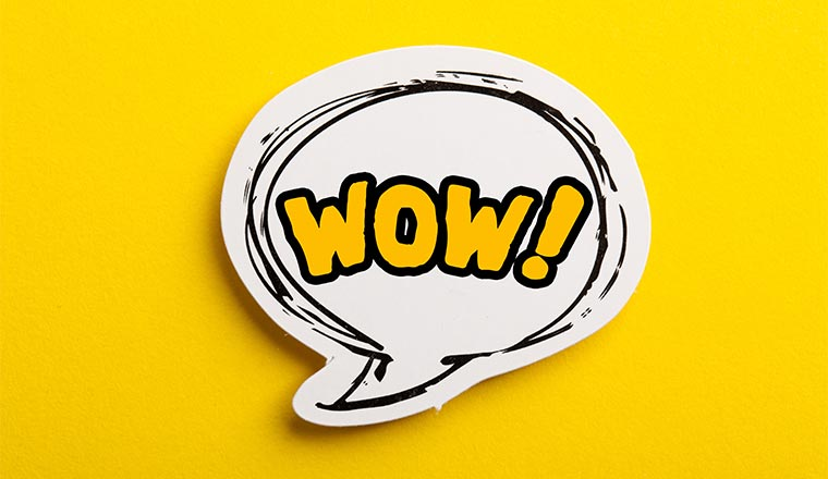 "A picture of the word ""wow!"" in a speech bubble"