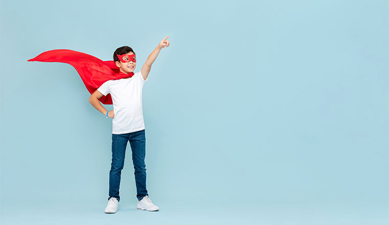 A photo of a young superhero
